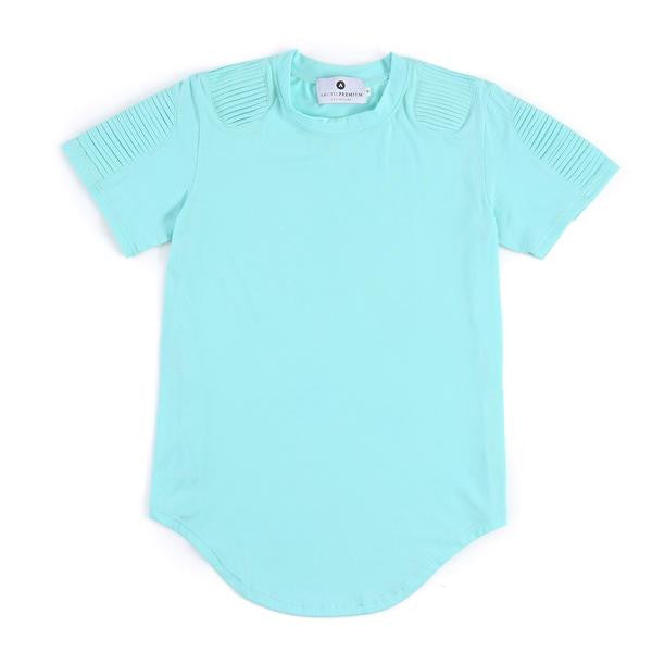Frayed Classic Elongated Moto Shirt (Aqua Blue)