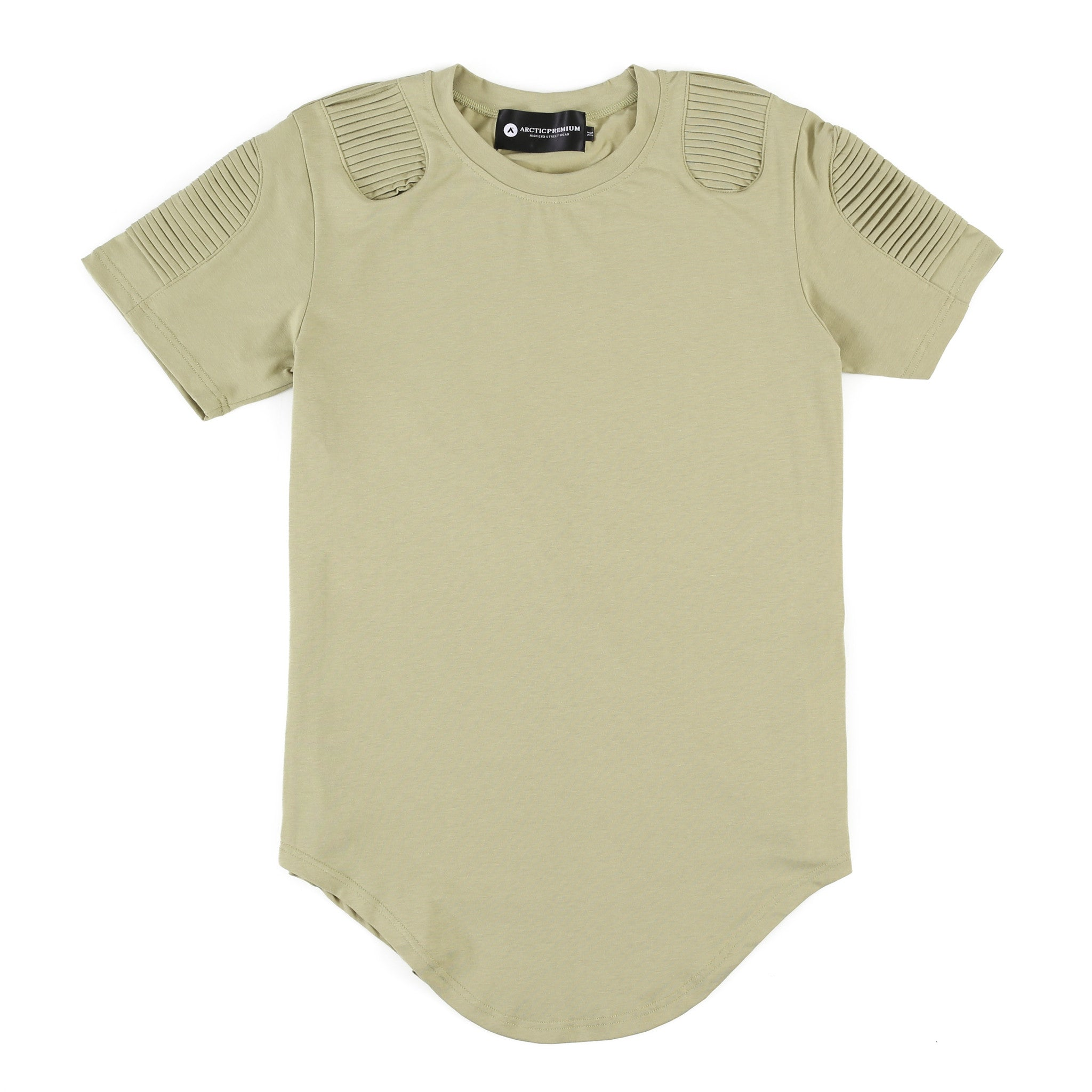 Frayed Classic Elongated Moto Shirt (Light Olive)