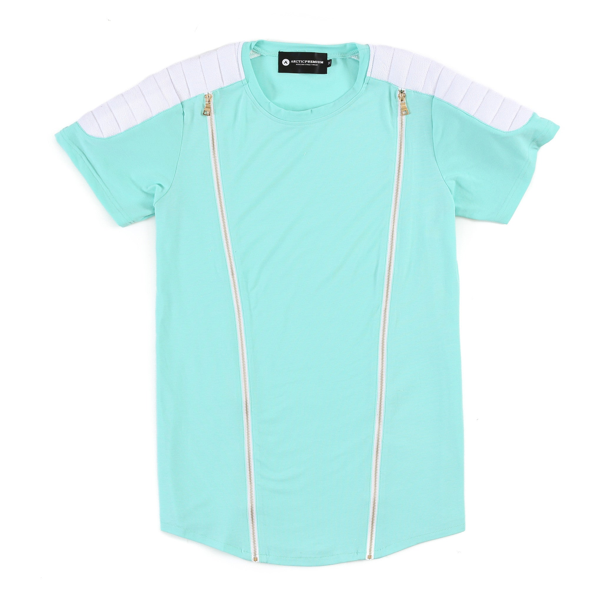 Viper Zippered Moto Shirt (Aqua Blue/White)