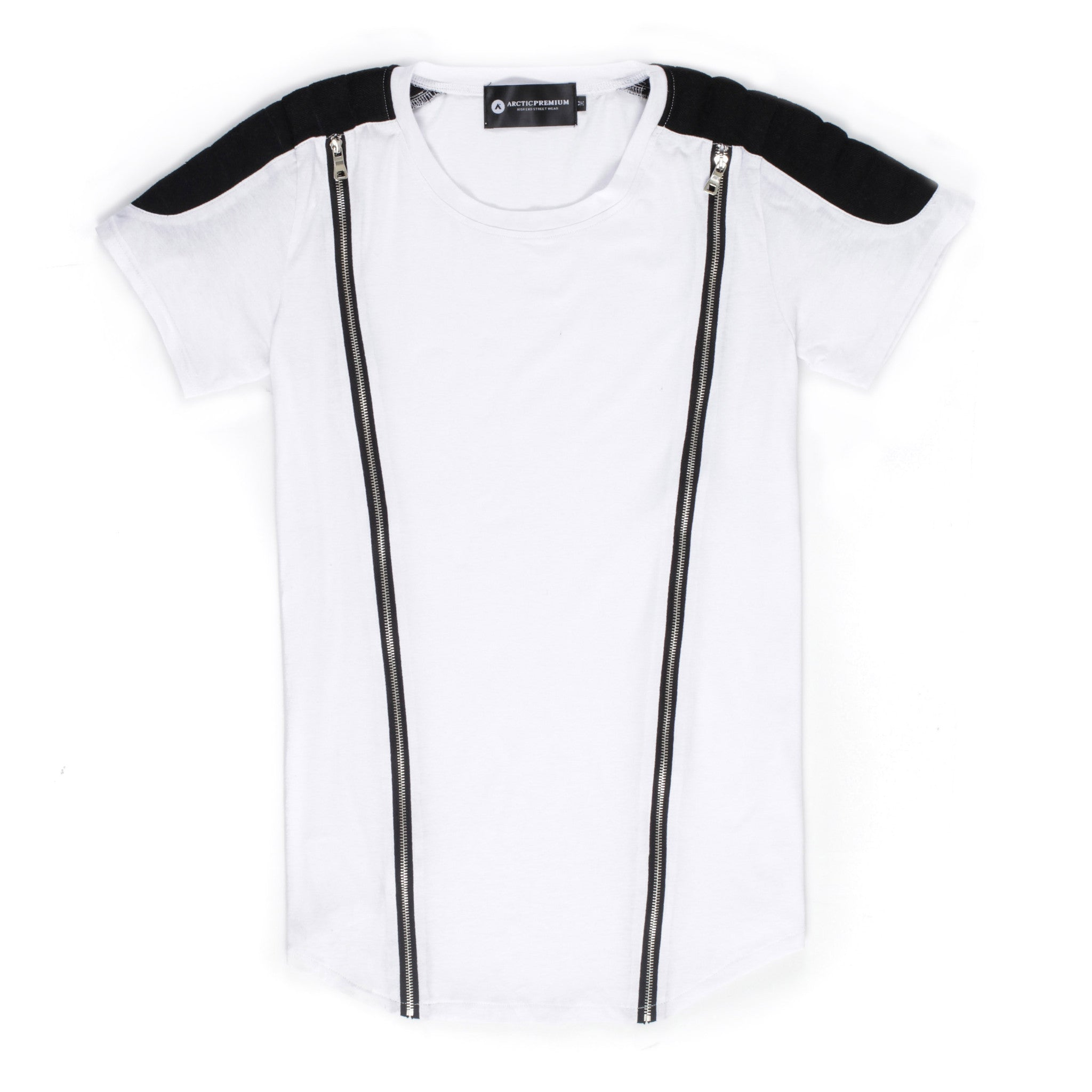 Viper Zippered Moto Shirt (White/Black)