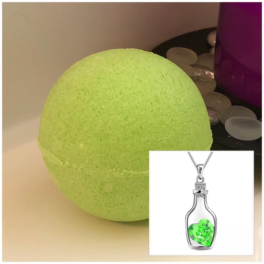 Bottle of Love Necklace Bath Bomb (Earth)