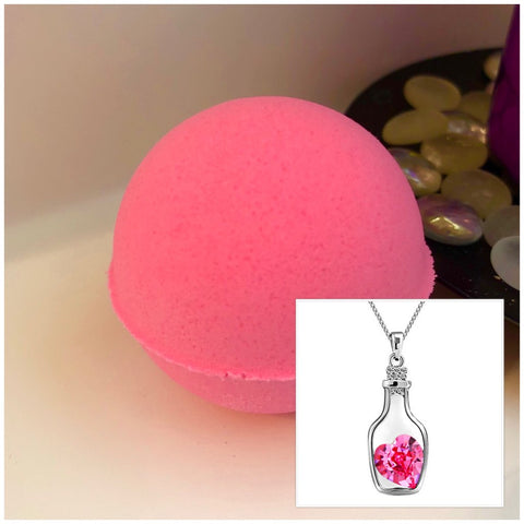 Bottle of Love Necklace Bath Bomb (Compassion)