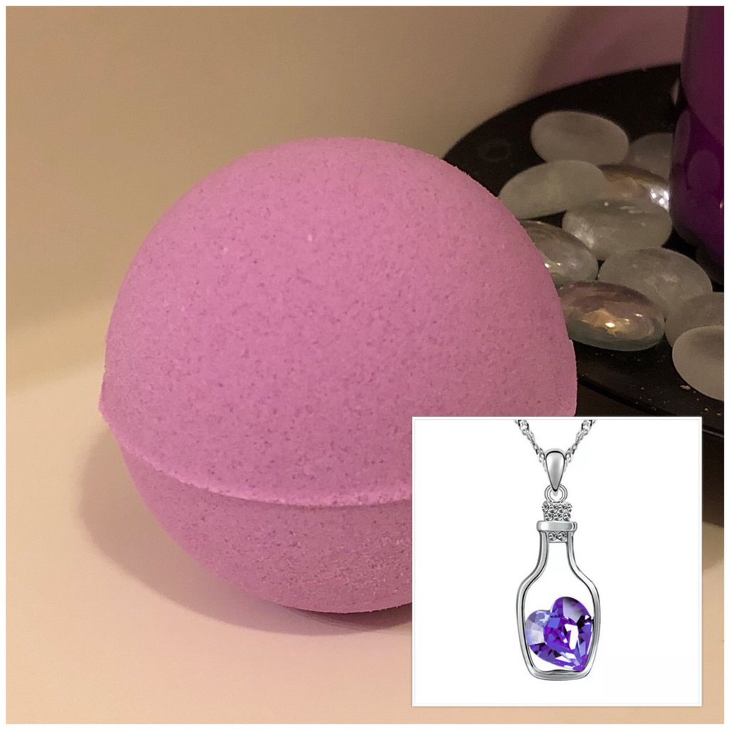 Bottle of Love Necklace Bath Bomb (Royalty)