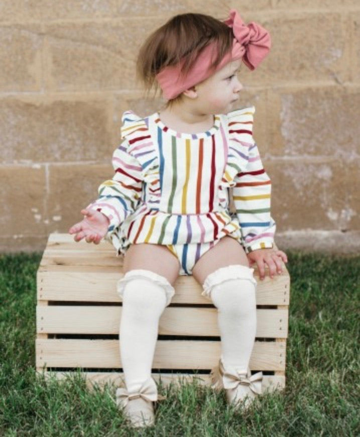 Harvest rainbow stripe bubble romper