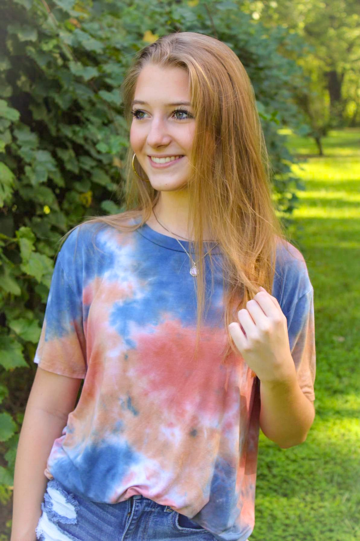 Rust and navy tie dye tee