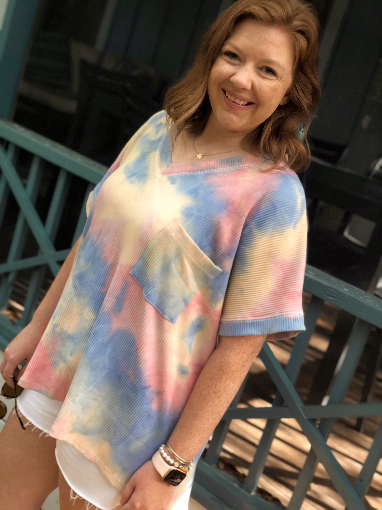 Oversized muted tie dye top