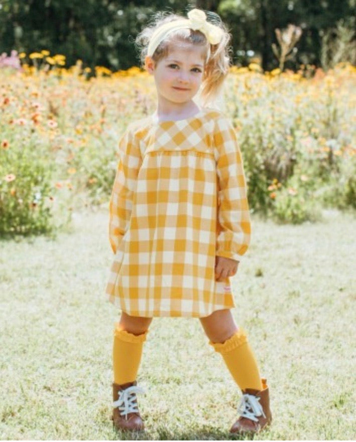 Golden yellow plaid button back dress