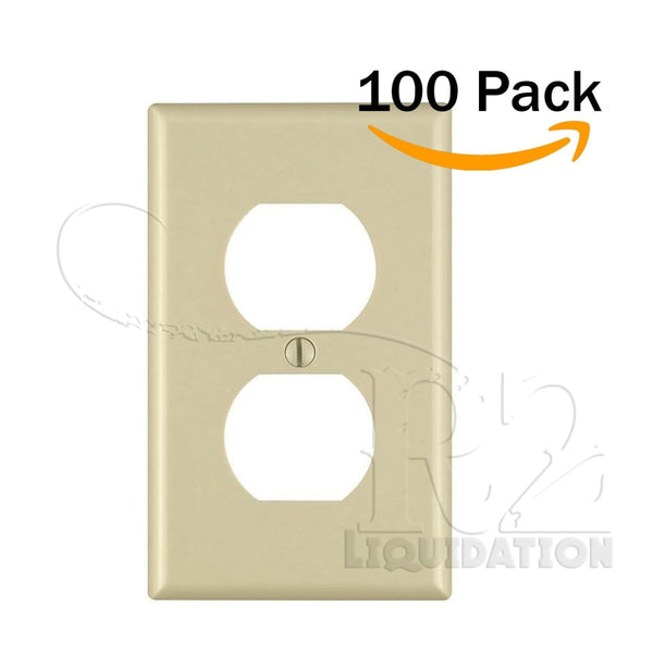100pk 1-Gang Duplex Device Receptacle Wallplate Standard Size Wall Plates Outlet Cover Unbreakable