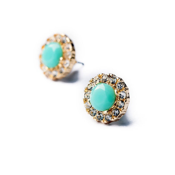 Aqua Sunburst Stud Earrings