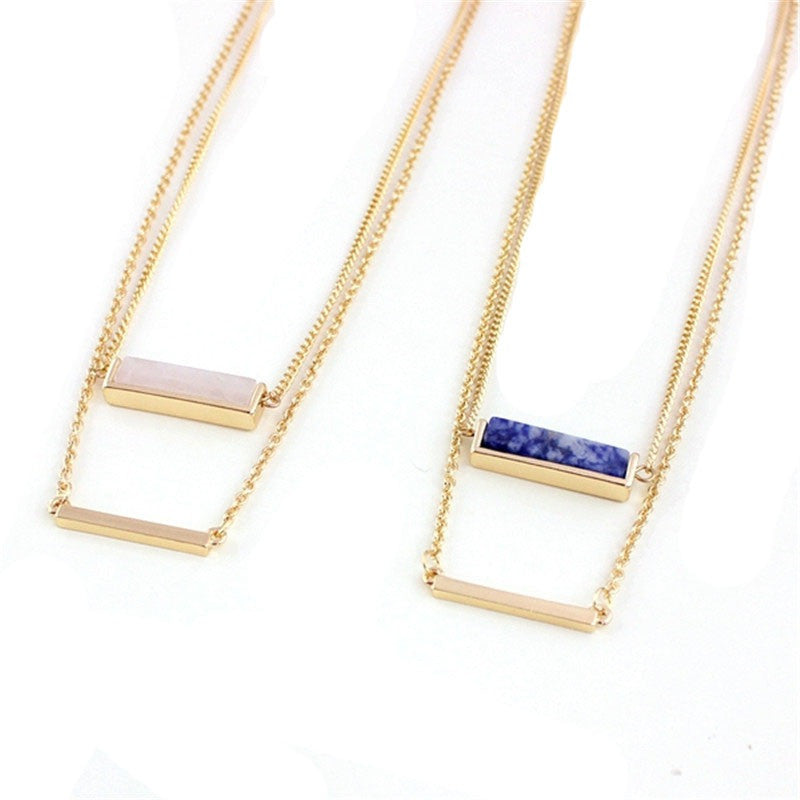 Golden Double Bar Necklace
