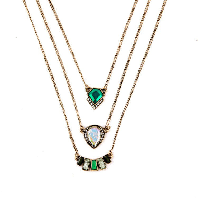 Triple Strand Emerald Gypsy Necklace