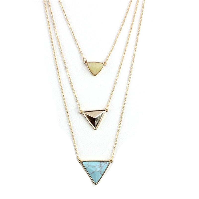 Triple Strand Triangle Necklace