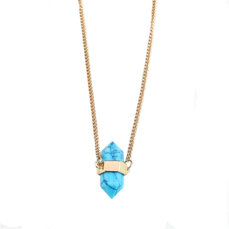 Howlite Blue Capsule Necklace