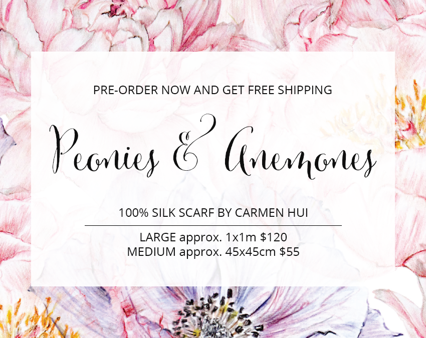 Pre-Order Your Own Peonies & Anemones Silk Scarf