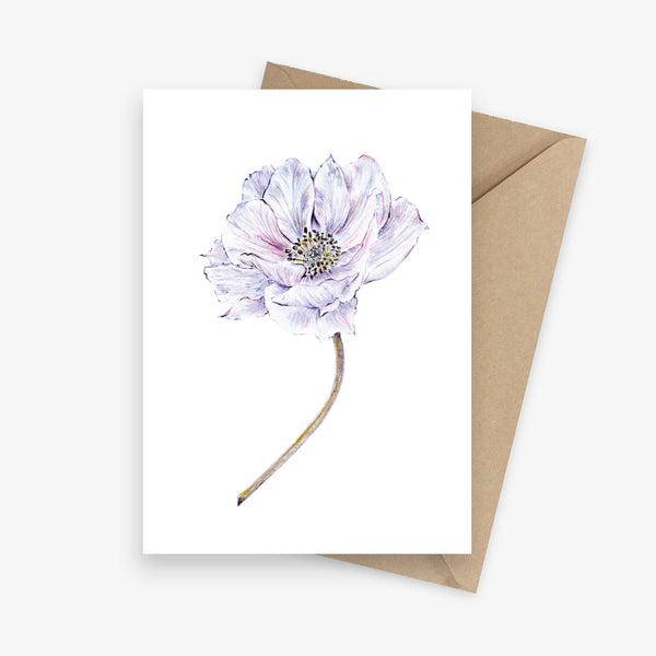 Botanical greeting card featuring a purple anemone flower.