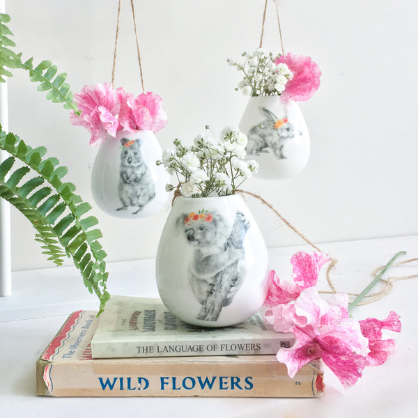 BUNDLE BUY Pick and Choose 3 x Aussie Creatures Ceramic Hanging Plant Pots