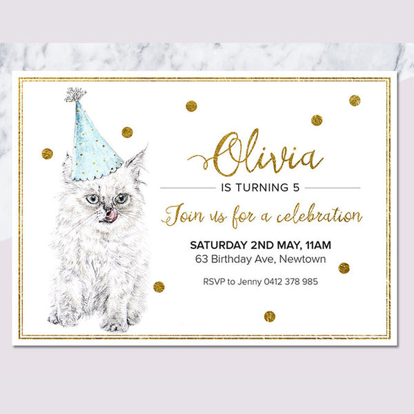 Birthday Cat Printable Invitation