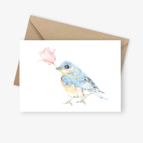 Bluebird with Magnolia Greeting Card