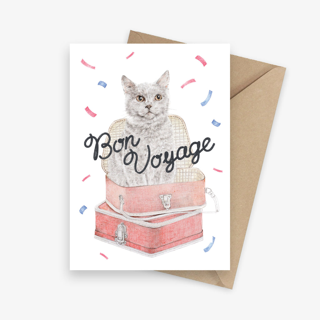 Bon voyage greeting card featuring a cat in a suitcase with confetti.