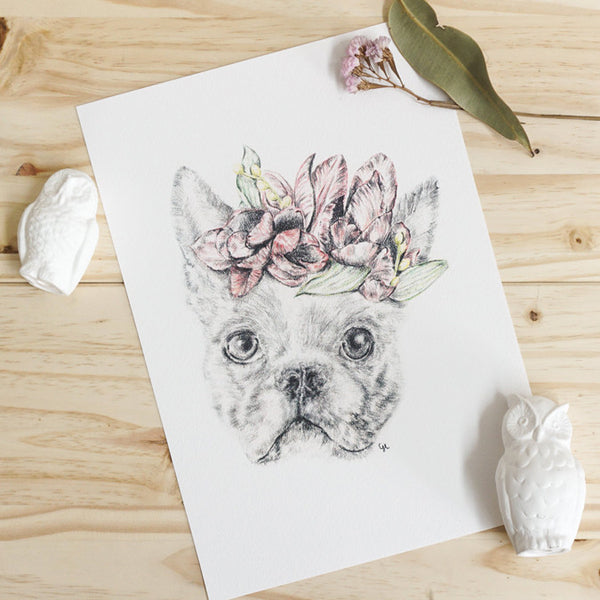 Boston Terrier with Flower Crown