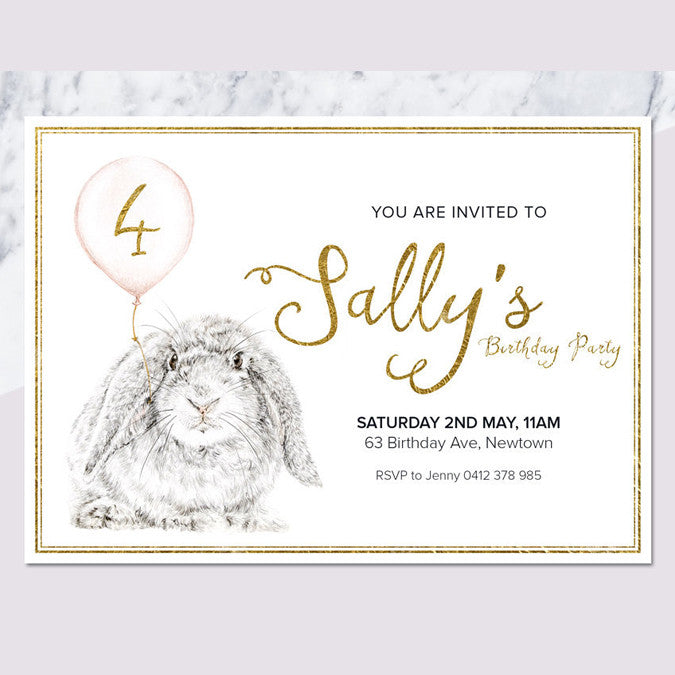 Bunny Printable Birthday Invitation