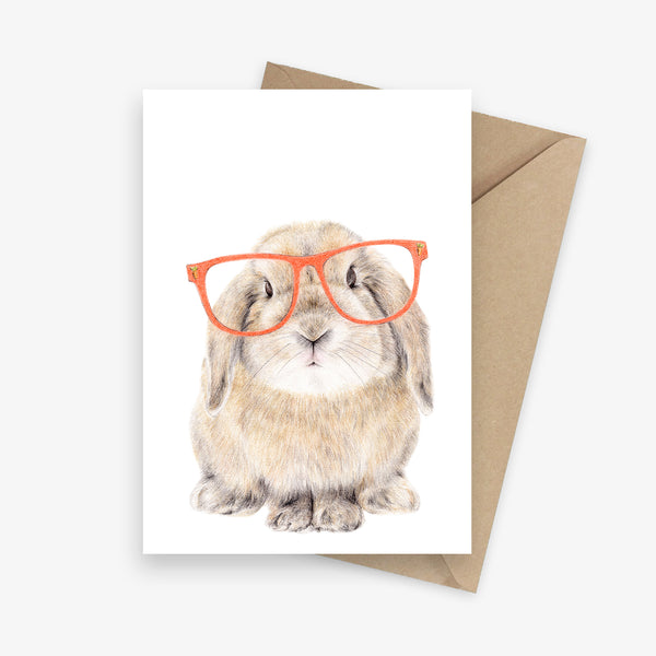 Greeting card featuring a lop-eared bunny with glasses.