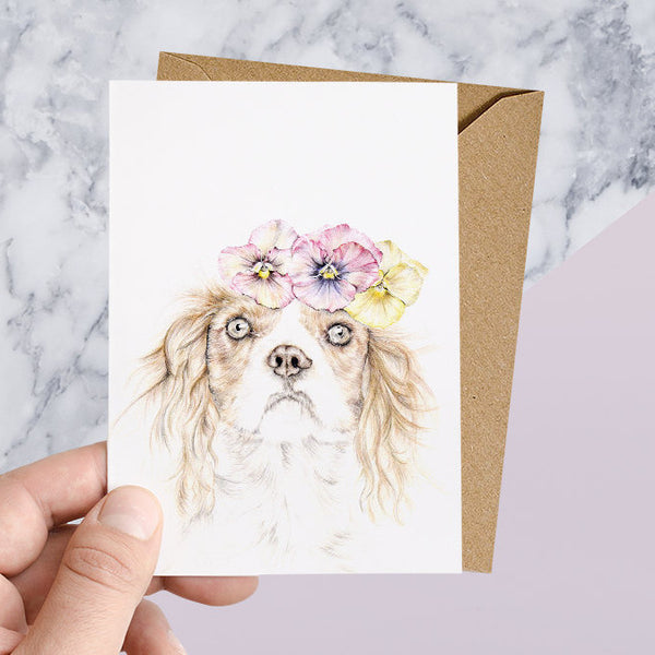 Cavalier King Charles Spaniel with Floral Crown Greeting Card