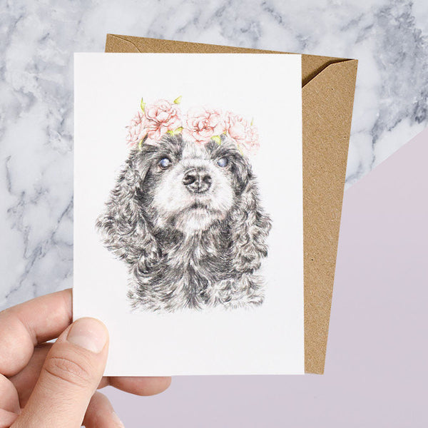 Cocker Spaniel with Rose Flower Crown Greeting Card