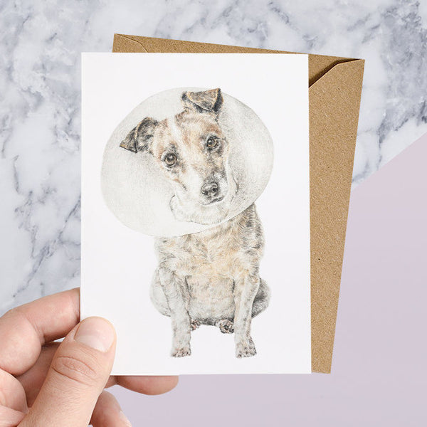 Cone of Shame Get Well Soon Greeting Card