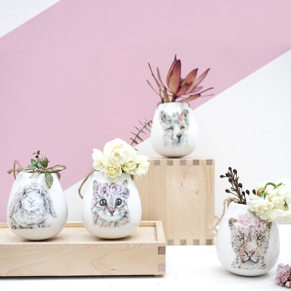 BUNDLE BUY 4 x Ceramic Creature Hanging Plant Pots