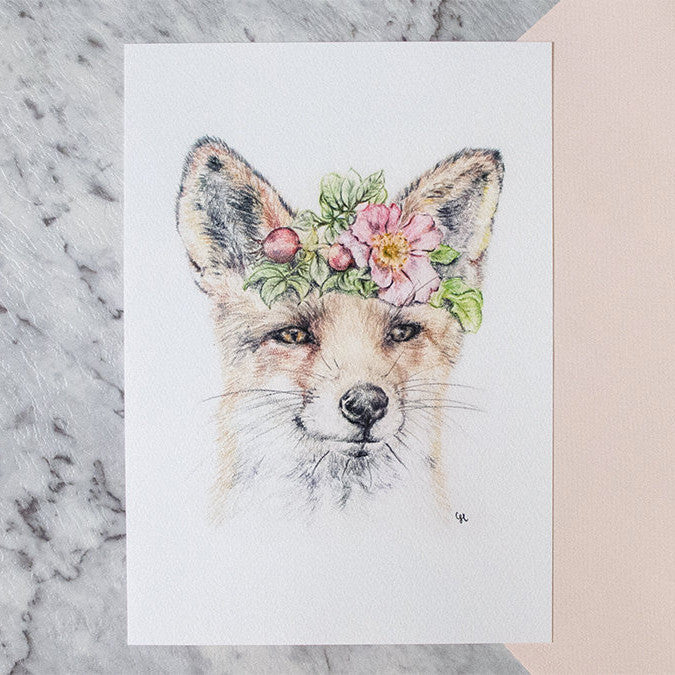 Woodland Fox with Floral Crown