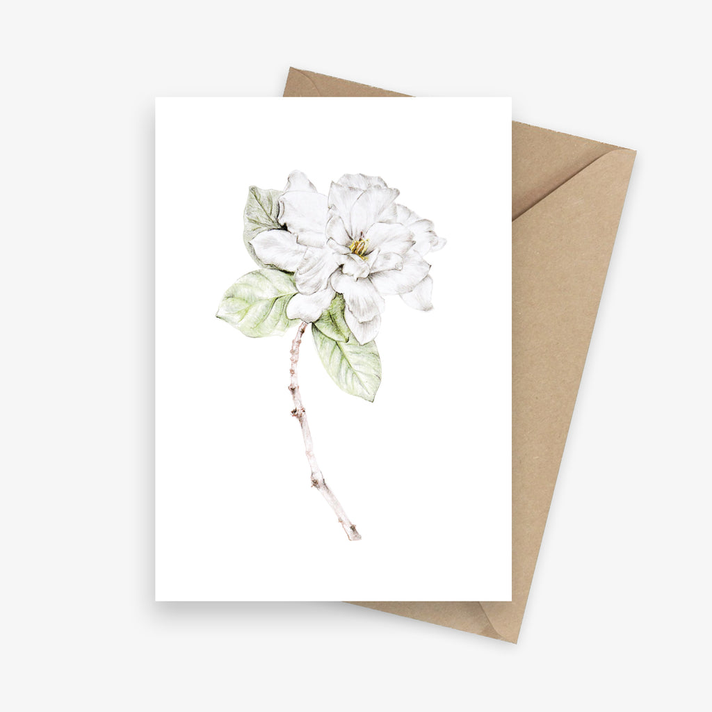 Gardenia Botanical Art Greeting Card