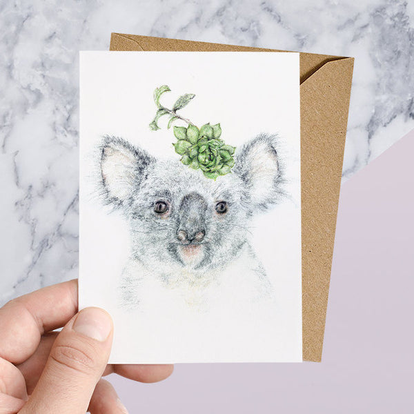 Koala with Succulents Greeting Card
