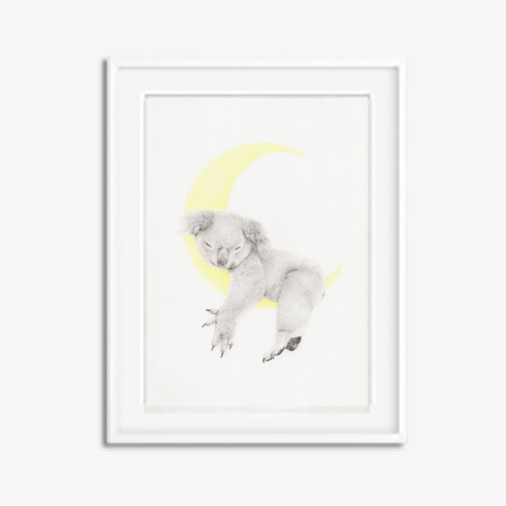 Original koala drawing with a crescent moon.