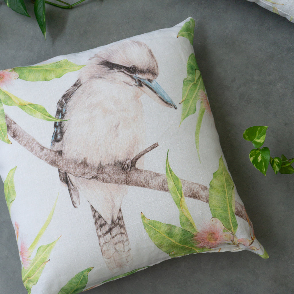 Kookaburra Linen Cushion