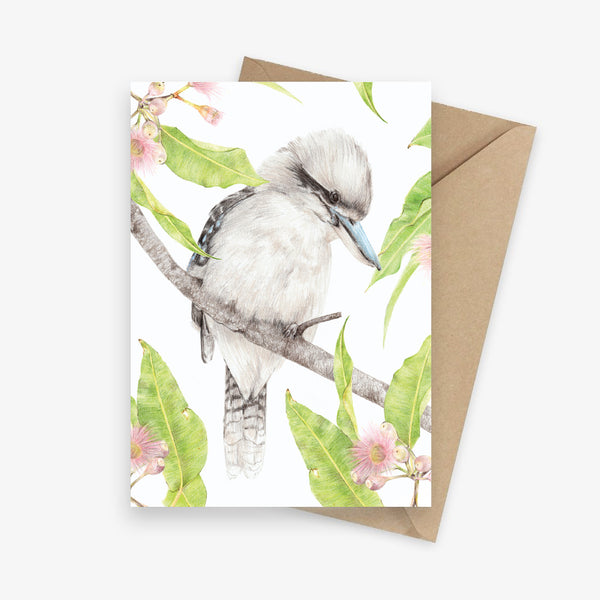 Greeting card featuring a kookaburra with flowering gums.