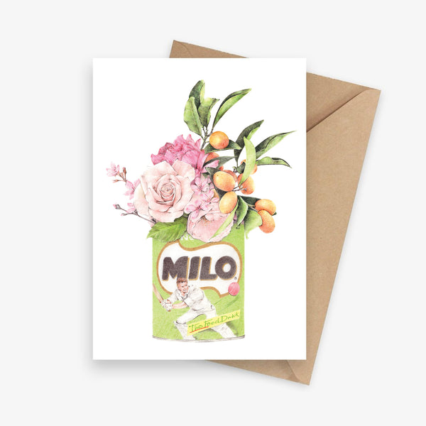 Illustrated greeting card featuring a bouquet of roses and citrus in a Milo tin.
