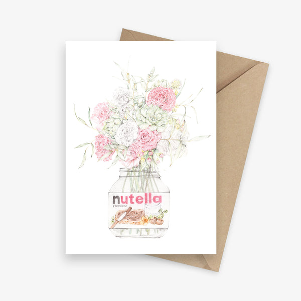 Greeting card featuring a bouquet of roses in a Nutella jar.