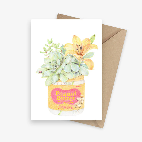Greeting card featuring a succulent bouquet in a peanut butter jar.