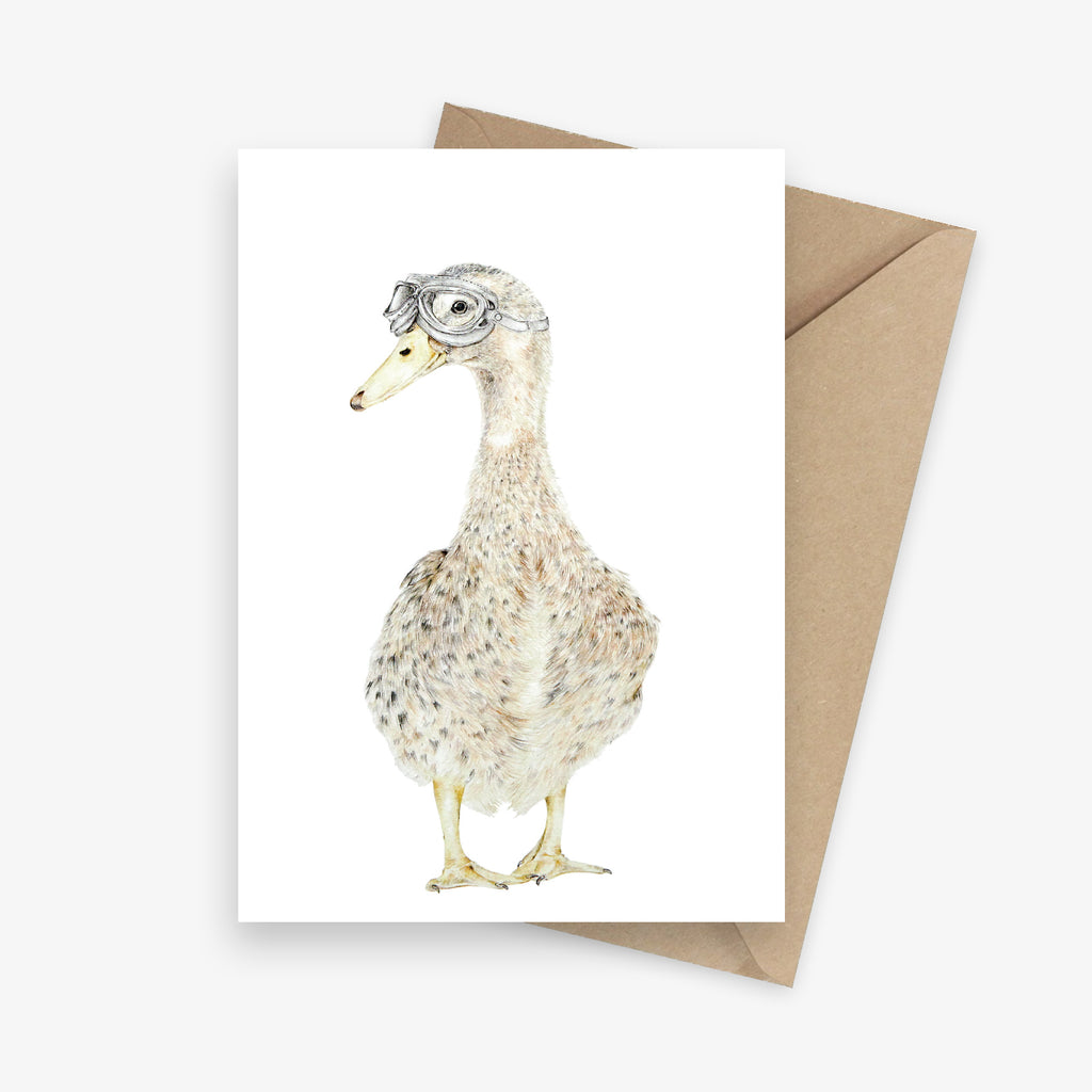 Funny greeting card featuring a farm duck with pilot goggles.