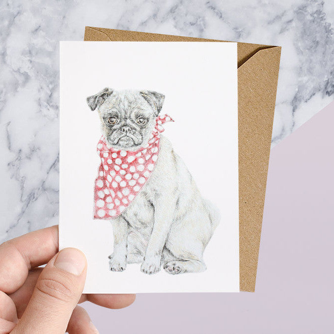 Pug With Bandana Greeting Card