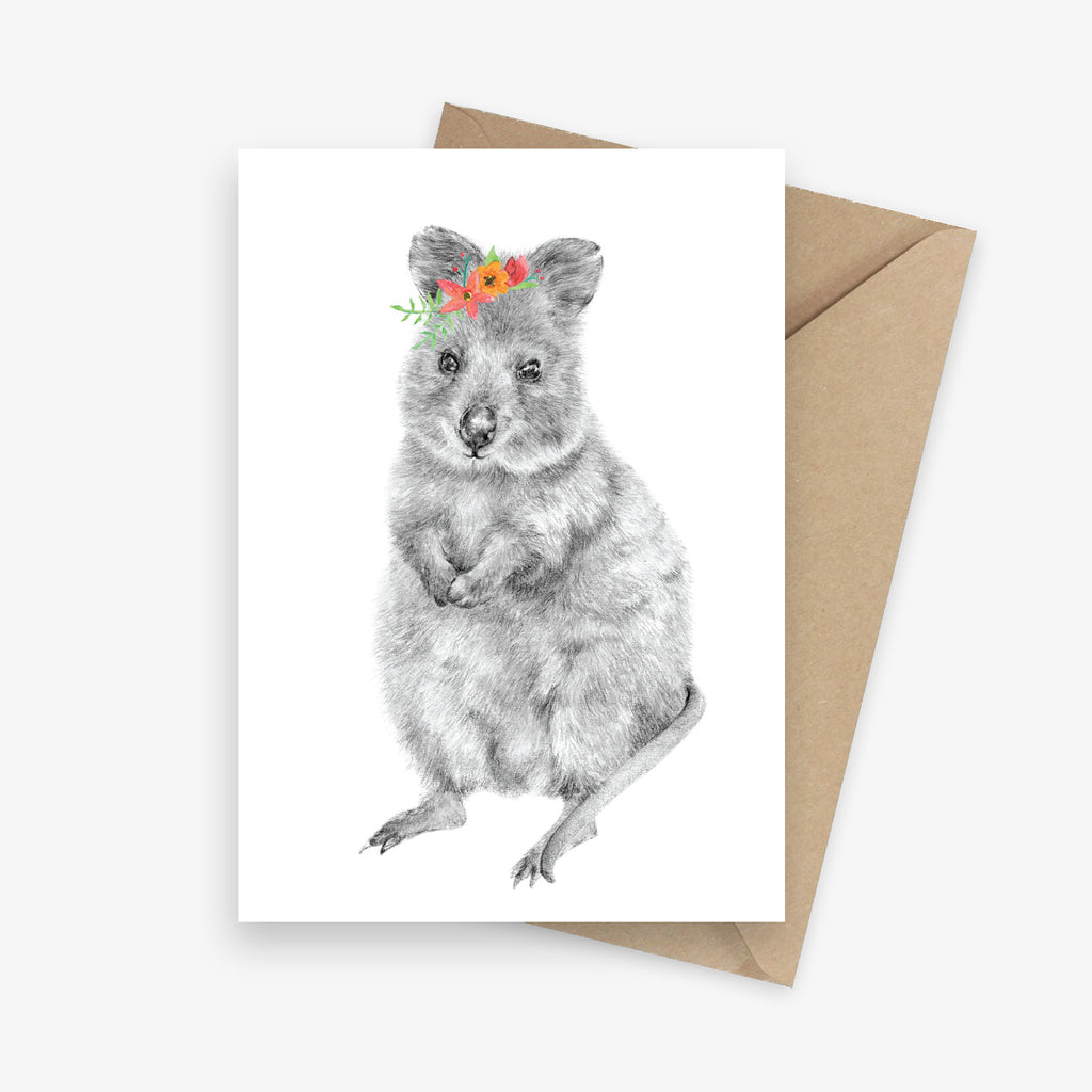 Greeting card featuring an Australian native quokka with a flower crown.