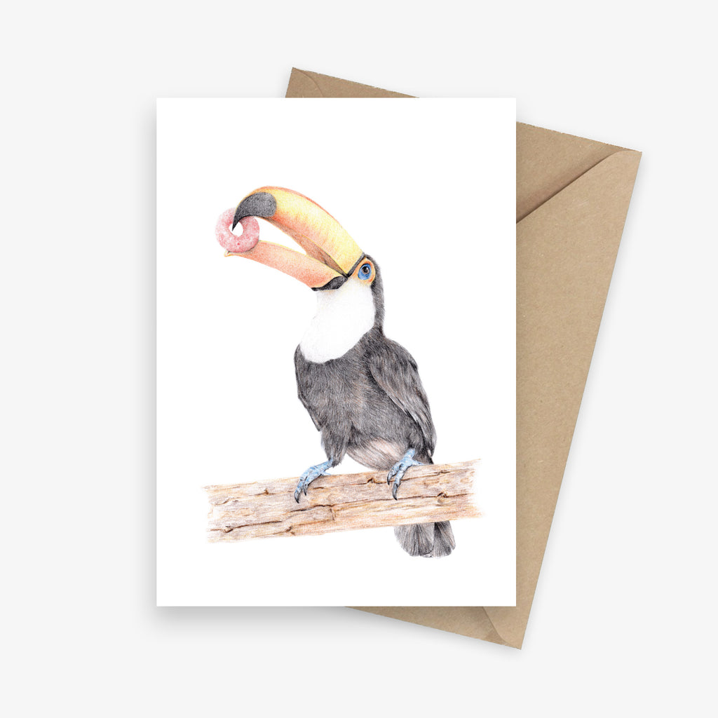 Funny greeting card featuring a tropical toucan holding a fruit loop.