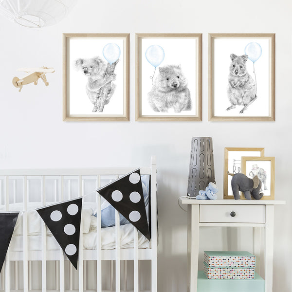 Set of 3 Aussie Animal Art Print - Customisable Balloon Colour