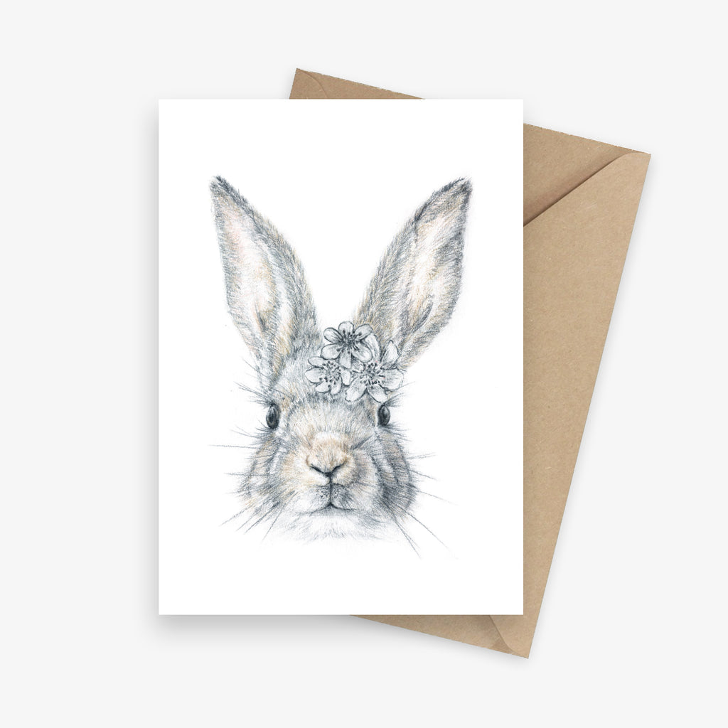 Greeting card featuring a bunny with a flower crown.
