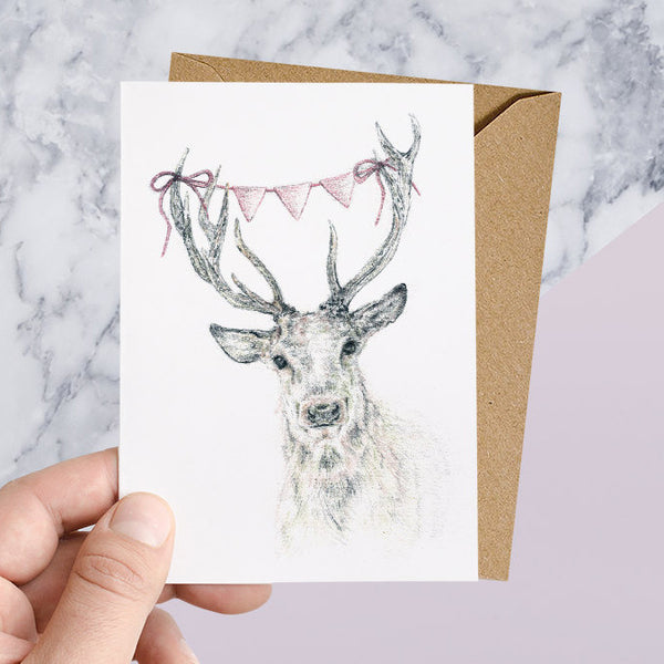 Woodland Deer With Bunting Greeting Card