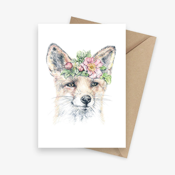 Greeting card featuring a fox with a flower crown.
