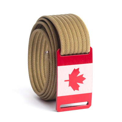 Kids' Canada Flag Buckle GRIP6 belt with Khaki strap swatch-image