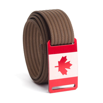Women's Canada Flag Buckle GRIP6 belt with Mocha strap swatch-image