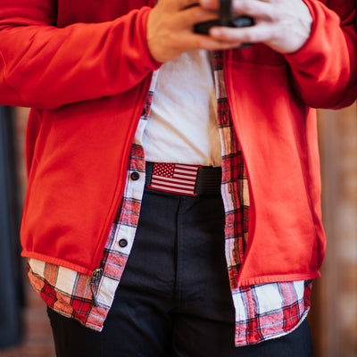 GRIP6 Belts Men's Red USA Flag Buckle Collection